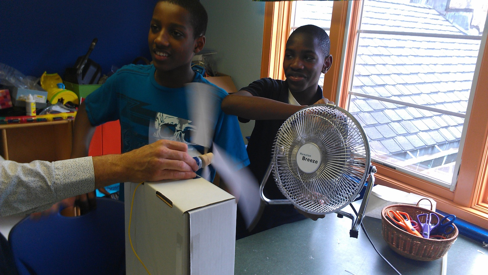 Seventh graders designed turbines to create electricity.